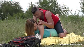 Deep penetration outdoor romance for this fresh 18 teen