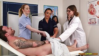 Patient gets his dick sucked by polluted Hannah Shaw & Mikaela Forrester
