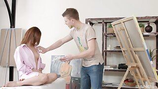 Aroused teen fucked at the end of one's tether her boyfriend during a naughty painting lesson