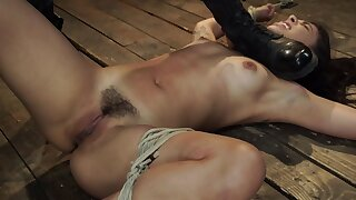 Tied and naked doll is shilly-shallying for a punishment on that minimal dumfound