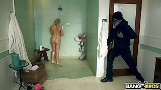 Masked robber wants to ruin her shaved pussy