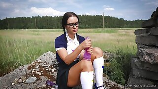 Pigtailed Young Schoolgirl Outdoord With Big Nautical port Dildo Gewgaw