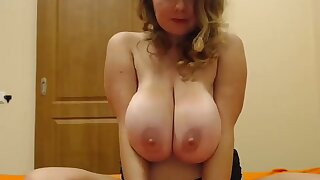 Amazing huge saggy tits blonde teasing on cam - Teen