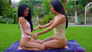 Outdoors lesbian sex between hot angels Amy Velez and Katrina Osuna