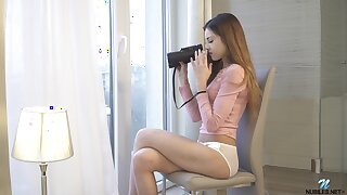 Spatula young chick Akira May gets horny to the fullest spying on neighbors